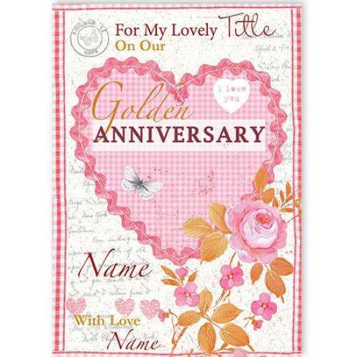 Golden Anniversary Heart And Flowers Card