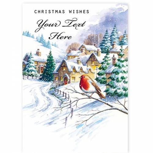 Christmas Wishes Robin Scene Card