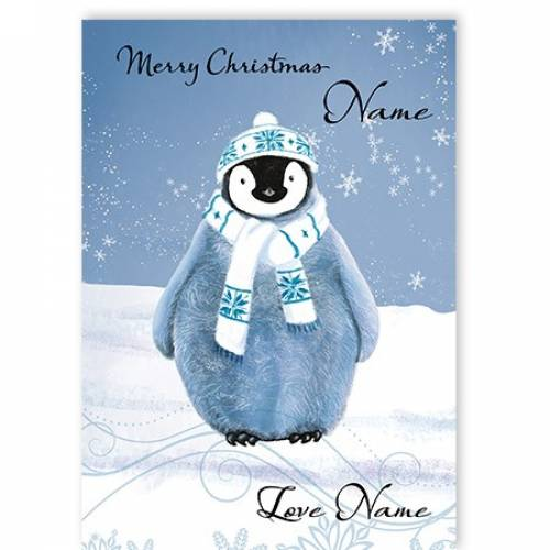 Merry Christmas Blue Penguin Card