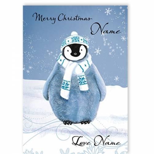 Merry Christmas Blue Penguin Card