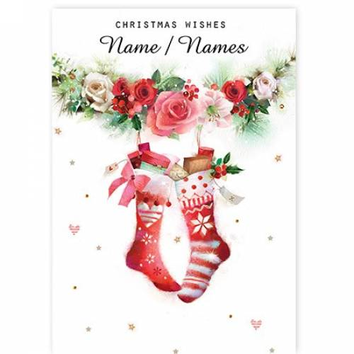 Hanging Garland Christmas Stockings Card