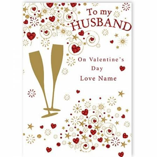 To My Husband On Valentine's Day Champagne  Card