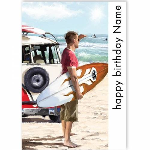 Happy Birthday Surfer Card
