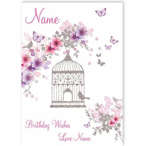 Birdcage Flowers Birthday Card