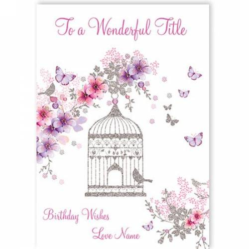 Title Birdcage Flowers Birthday Card