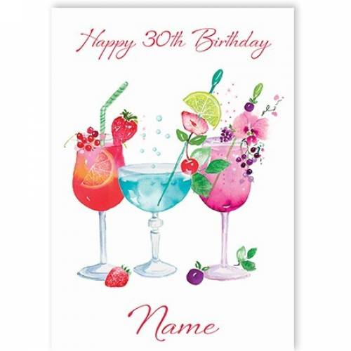 Cocktails 30th Birthday Card