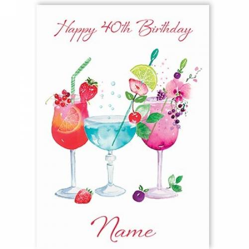 Cocktails 40th Birthday Card