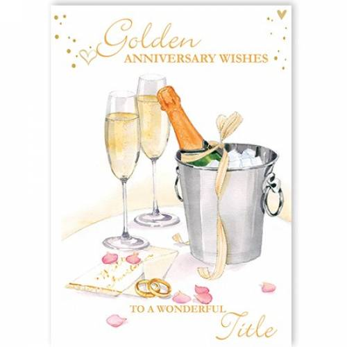 Champagne Golden Anniversary Card