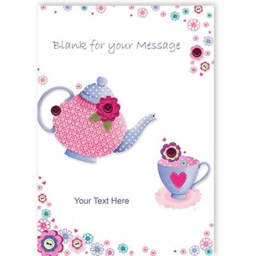 Button Teapot Greeting Card