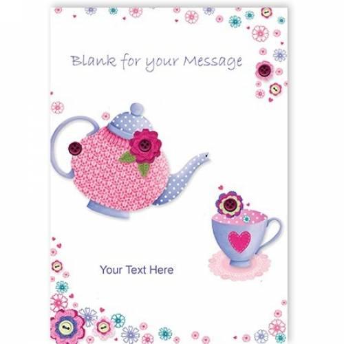 Button Teapot Greeting Card