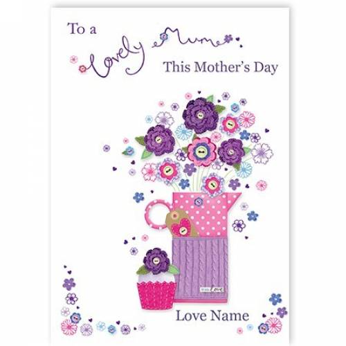 Watering Jug & Flowers Lovely Mum Mother's Day Card