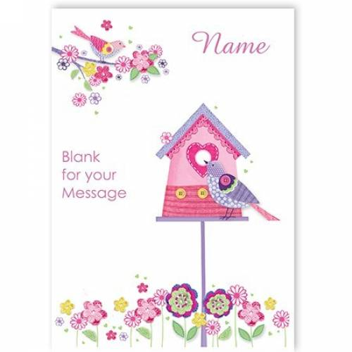 Button Bird House Greeting Card