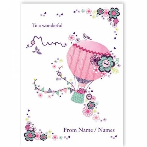 Hot Air Balloon Wonderful Mum Card