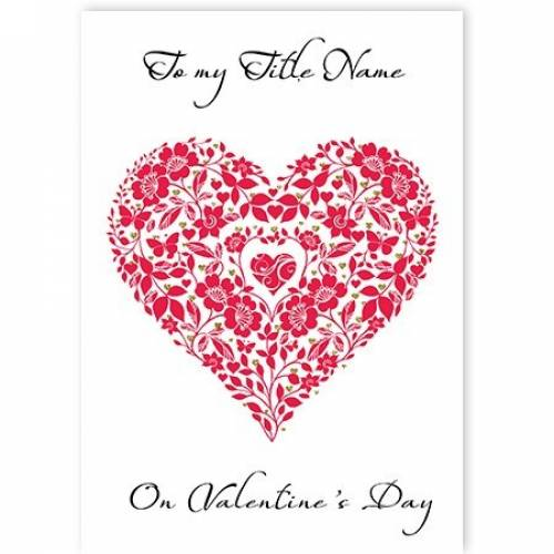 Valentine's Day Heart And Flowers Card
