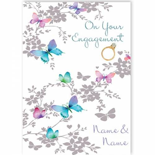 Butterfly Engagement Card