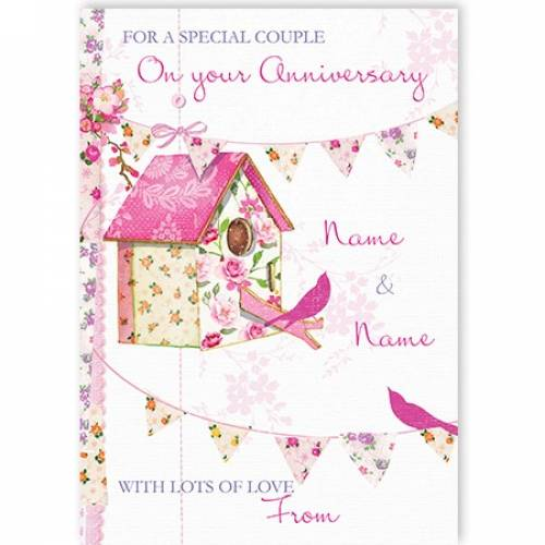 Special Couple On Your Anniversary Bird House Card
