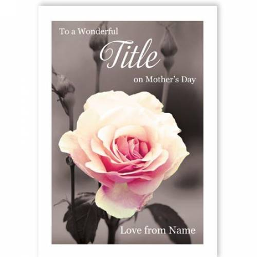 Black And White With Rose Mothers Day Card