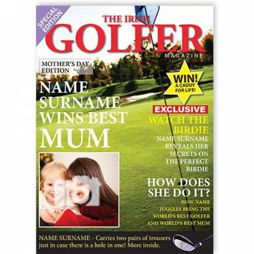 Best Mum Photo Irish Golfer  Card