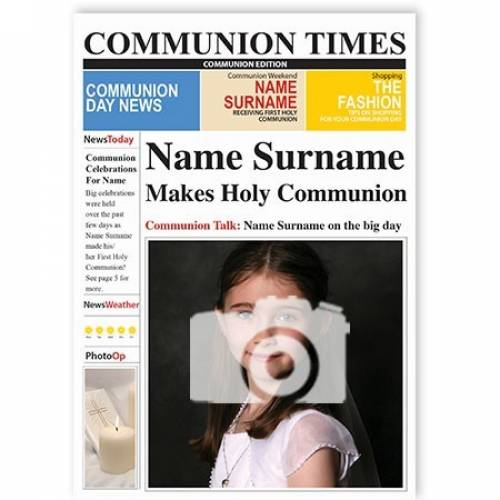 Communion Times Photo Upload Card
