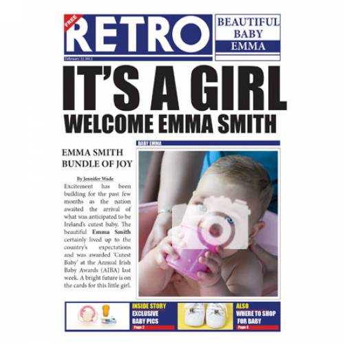 Retro Beautiful Baby Girl Card