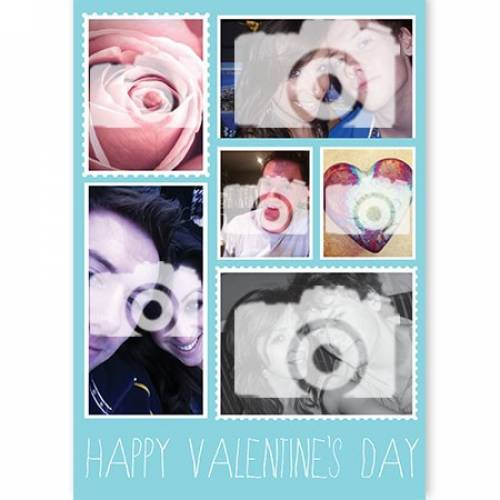 Six Photo Upload Happy Valentines Day Card