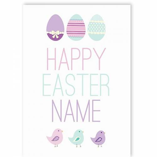 Happy Easter Eggs And Birds Card