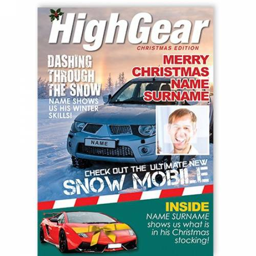 High Gear Christmas Edition Fast Car Card