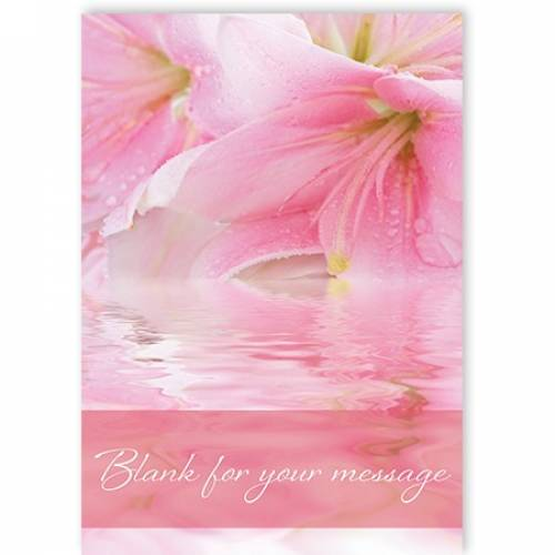 Blank For Your Message Pink Flower Water  Card