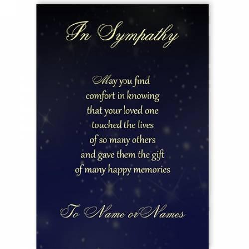 Happy Memories Poem Sympathy Card