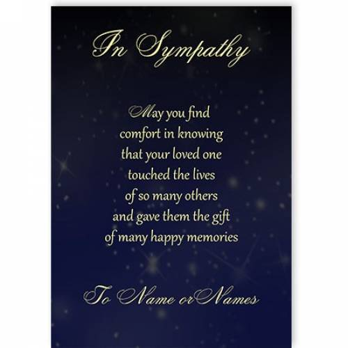 Happy Memories Poem Sympathy Card