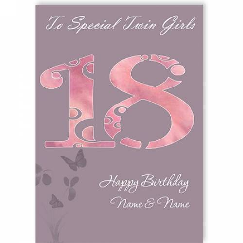 Special Twin Girls 18th Happy Birthday Card