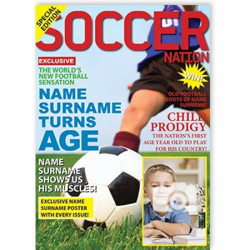Soccer Football Magazine Happy Birthday 2 Card