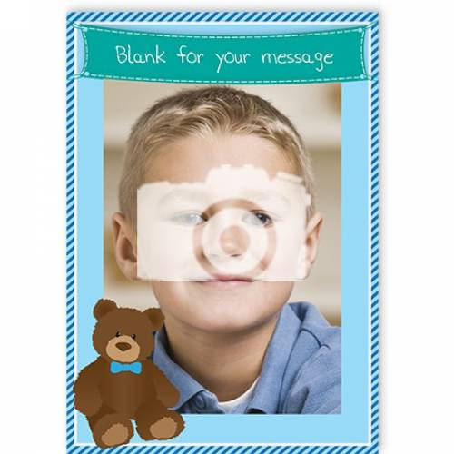 Photo Blue With Bear Blank Message Card
