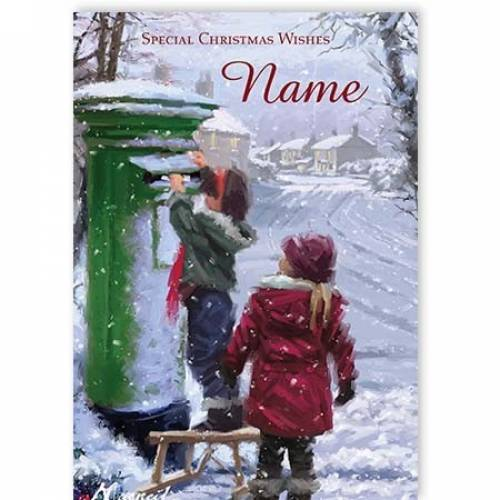 Christmas Wishes Children Postbox Card