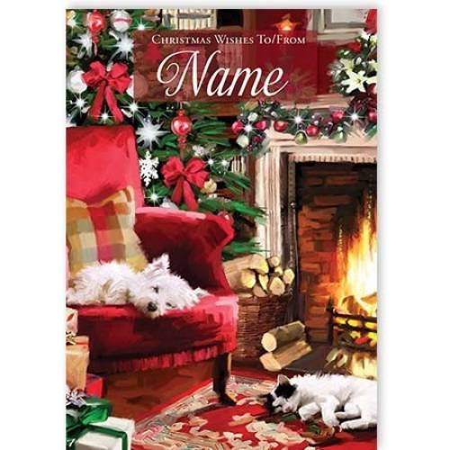 Fireside Dog & Cat Christmas Card