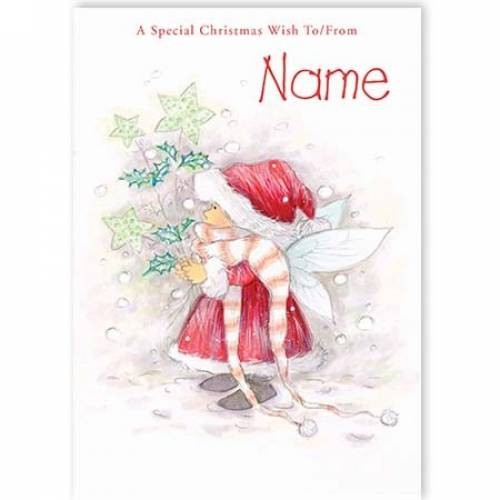Fairy Girl With Santa Hat Christmas Card