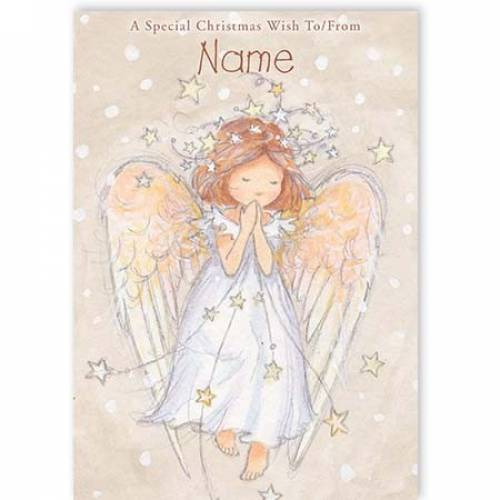 Angel Praying Stars Christmas Card
