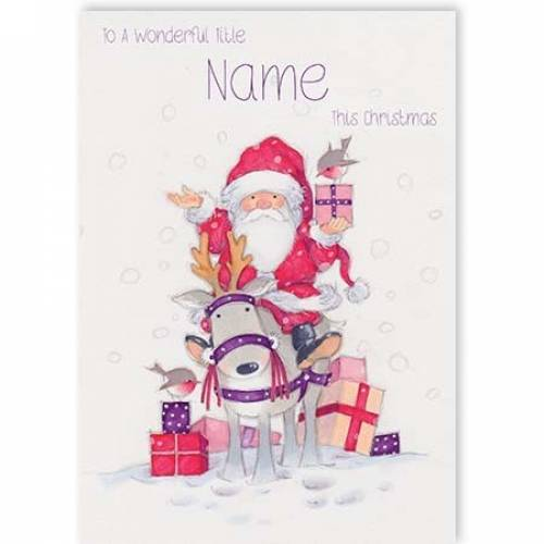 Wonderful Christmas Santa & Reindeer Christmas Card