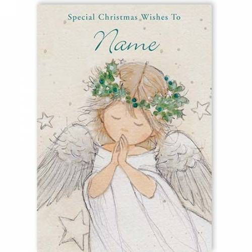 Angel Playing Special Christmas Wishes Card