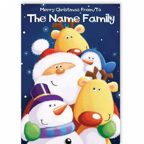 Cartoon Christmas Family Christmas Card