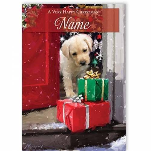 Puppy Presents Happy Christmas Card