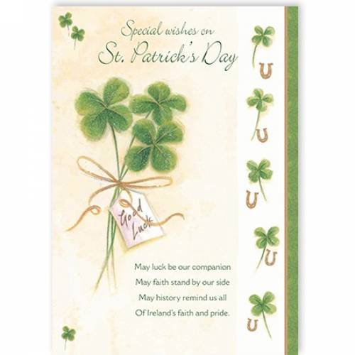 Shamrocks Special Wishes On St Patricks Day Card