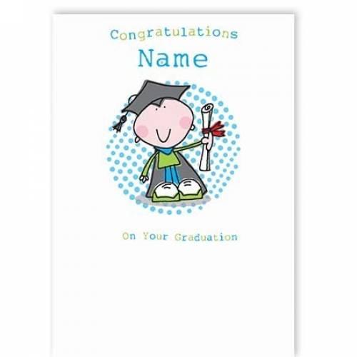 Boy Gown & Cert Congratulations Graduation Card