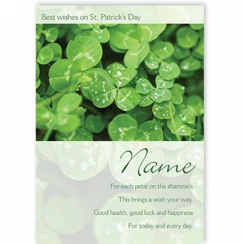 Shamrocks Health, Luck & Happiness St Patrick's Day Card