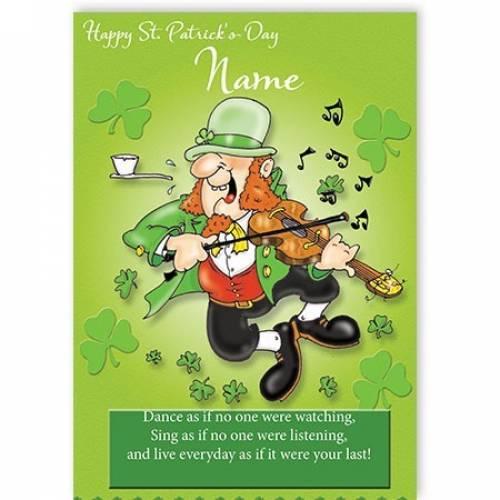 Leprechaun Playing Fiddle St Patricks Day Card