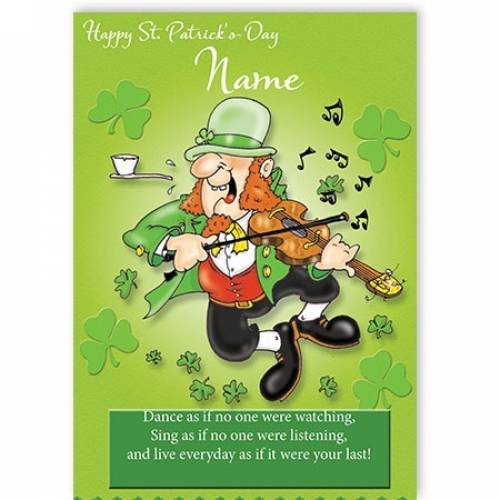 Leprechaun Playing Fiddle St Patricks Day Card
