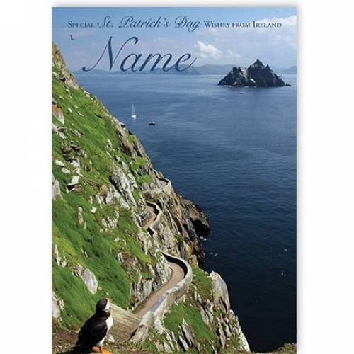 St Patrick's Day Irish Cliff Road Island Scenic Card