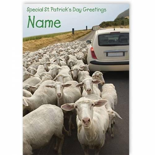 Sheep Rural Scene St Patrick's Day Card