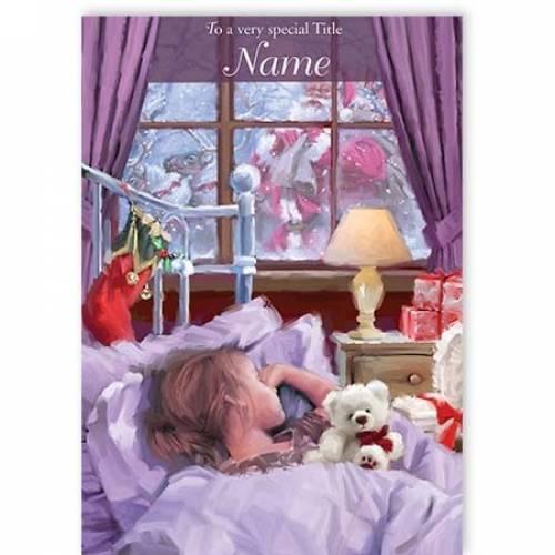 Santa Visiting Girl Christmas Card