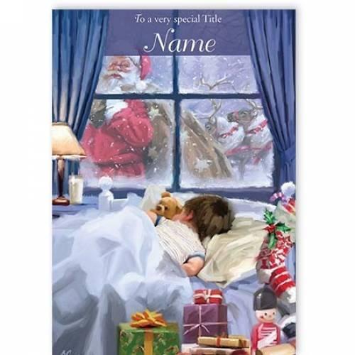 Santa Visiting Boy Christmas Card